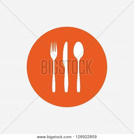 Fork, knife, tablespoon sign icon. Cutlery collection set symbol. Orange circle button with icon. Vector