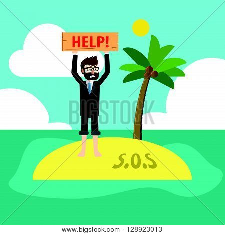 Trapped in island .eps10 editable vector illustration design