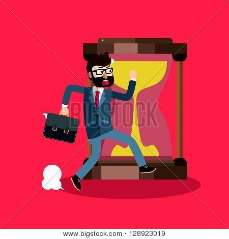 Business man getting late .eps10 editable vector illustration design