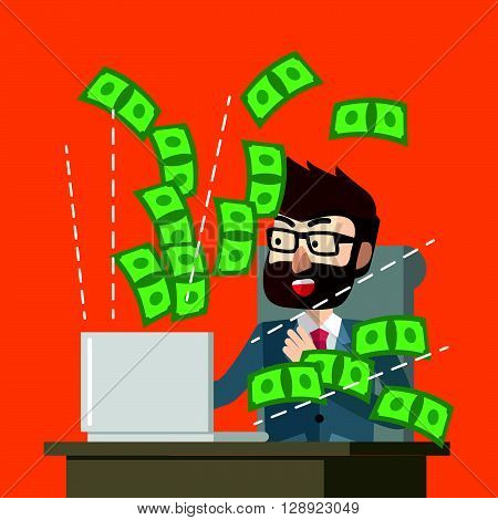 Making money online suprised .eps10 editable vector illustration design