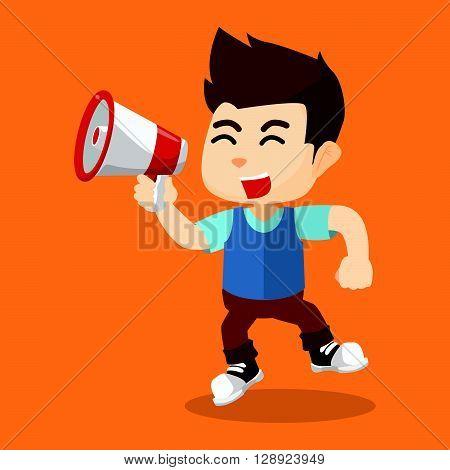 Boy yelling with megaphone .eps10 editable vector illustration design