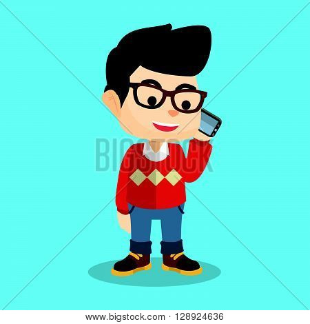 Boy make a phonecall .eps10 editable vector illustration design