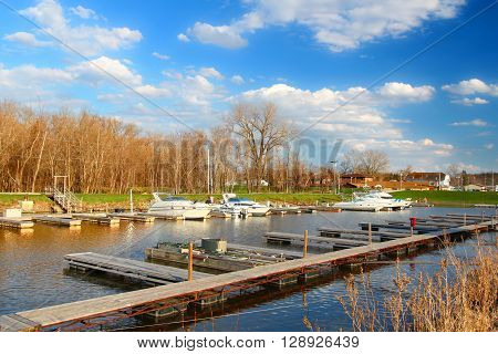 ANDALUSIA, USA - APRIL 15: Andalusia Harbor along the Mississippi River on April 15, 2016 in Rock Island County, Illinois.  It is a popular destination for boaters and fishermen.