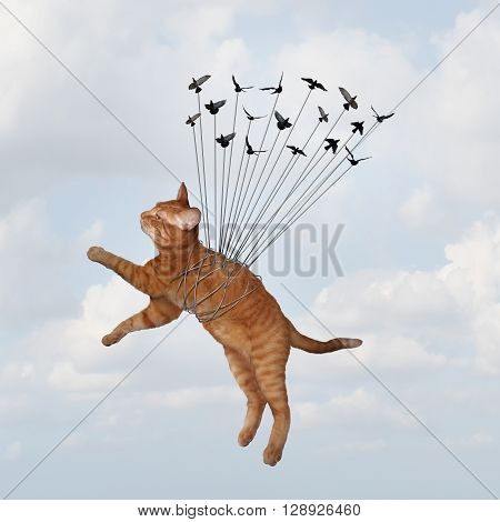 Team power concept and uniting together to overcome fear and win as an organization with a common goal as a group of birds lifting a cat that is tied up as a metaphor for teamwork strategy in a 3D illustration style.