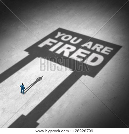 Losing a job business concept as a businessman looking at a cast shadow of a sign with text as a symbol for unemployment and being dismissed in the workplace or economic cutback icon in a 3D illustration style.