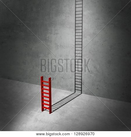 Career potential concept as a business metaphor for imagining success as a symbol for hidden potential as a red ladder casting a long shadow stretching to the top as a 3D illustration.