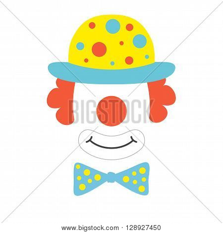 Clown props face set. Clown mask. Party  funnyman birthday photo booth props. Wig, hat, nose, funny glasses, bow tie, smile. Vector illustration clown photo booth props. Clown props.