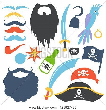 Pirate props set. Party corsair birthday photo booth props. Cocked hat, beard, eyecup, mustache, saber, rum bottle,  bomb, parrot, hook. Vector illustration pirate photo booth props. Pirate props.