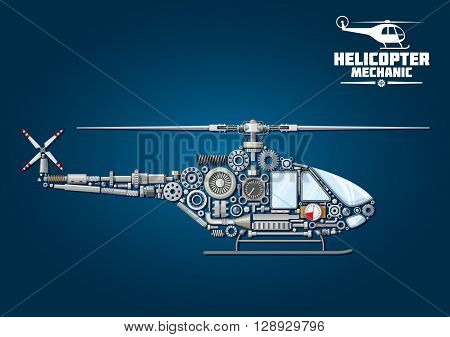 Helicopter symbol with mechanical detailed silhouette of rotorcraft, composed of drive shaft and rotor head with blades, cabin and landing windows, tail rotor, skid, transmission systems, reduction gears, bearings, position lights, absorbers, fasteners an poster