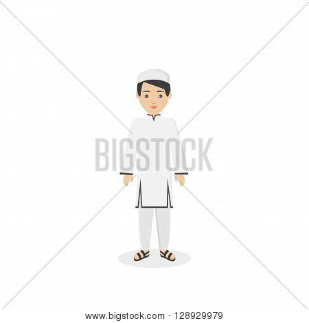 Saudi Arabia traditional clothes people. Arab traditional muslim, arabic boy clothing, east arabian dress, ethnicity islamic face, person human guy vector illustration