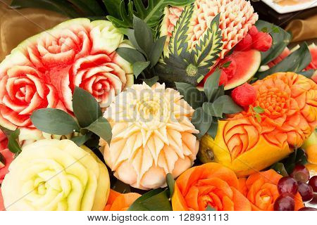 fruit carved shape beautiful flowers, thai food