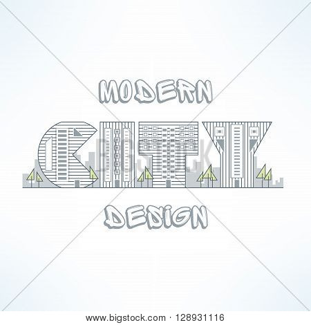 City background in thin line design. Flat city street silhouette. City design element made of letters.