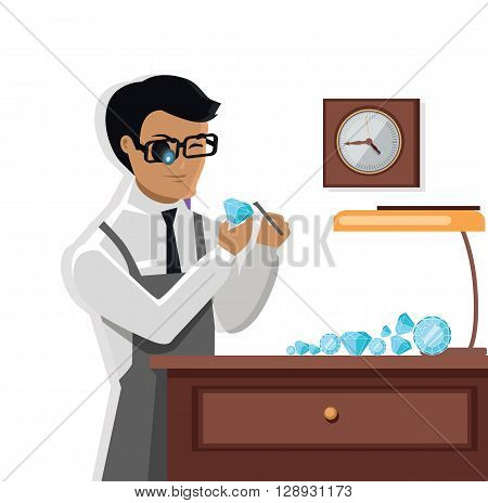 Jeweler man examines the diamond. Young jeweler glasses examines faceted diamond in the workplace in the lamplight flat style. Occupation person to work with precious stones. Vector illustration