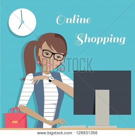 Fashion woman online shopping with computer. Young pretty girl or woman with glasses sits at computer and makes online shopping through the Internet. Banner drawing in flat style. Vector illustration