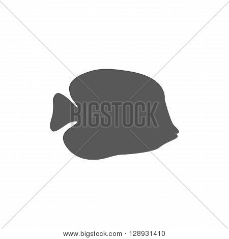 Chaetodon larvatus ocean fish icon. Beautifully painted fish living in ocean or sea with tail and fin. Creating living under water with a black color isolated on white background. Vector illustration