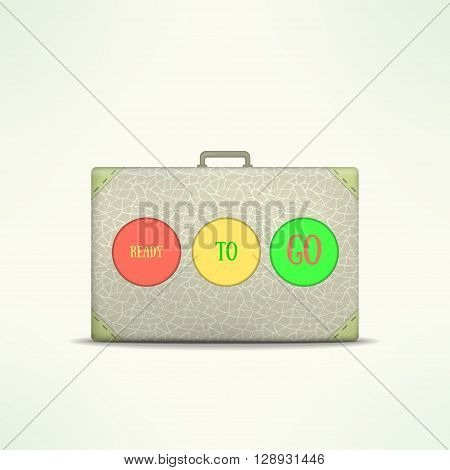 Ready to go travel case. Traveling design element. Traveler bag isolated. Vintage suitcase icon.