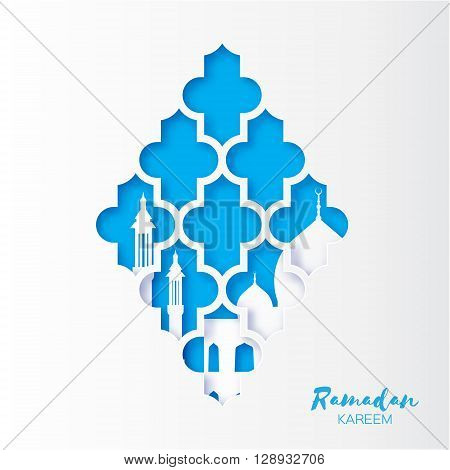Blue Origami arabesque Mosque Window Ramadan Kareem Greeting card with arabic pattern. Holy month of muslim. Crescent Moon. Symbol of Islam. Applique Design Vector illustration.