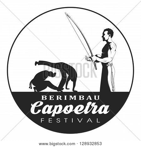 Capoeira dancer playing a instrument berimbau. Two capoeira dance fighter silhouette