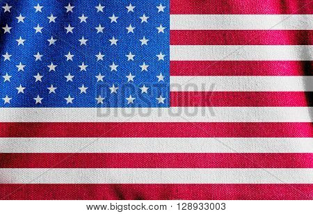 The American flag canvas fabric texture background