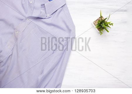 Businessman Shirt On White Wooden Background