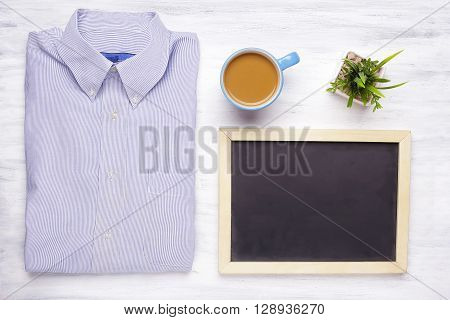 Top View Of Businessman Items On Wooden Table.