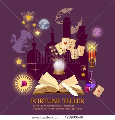 Fortune teller magic book crystal ball astrology signs vector illustration