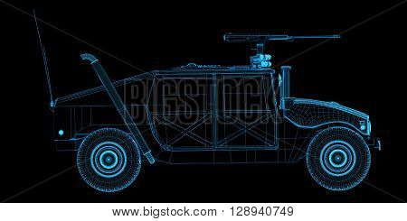 X-ray wire frame 3d render of game humvee