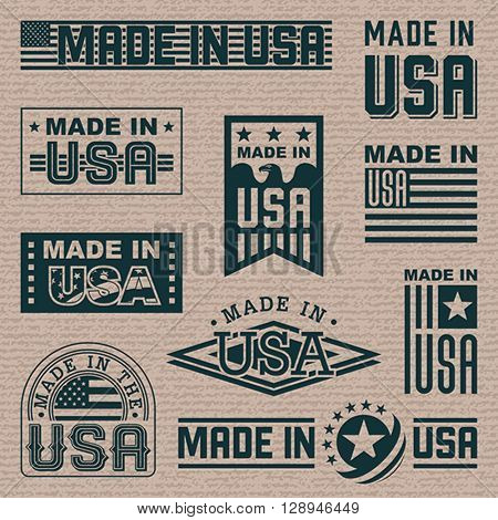 Made in America (USA) - set of different labels, badges, stamps.