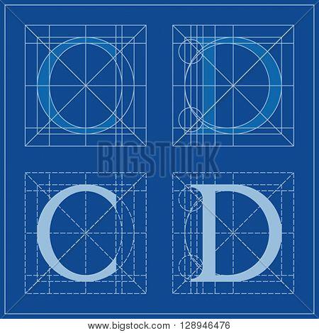 Designing Initials, letters C and D, blueprint.