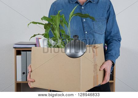 Man Carrying Box Beacause He Is Layoff