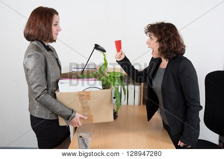 Woman Fired Another Business Woman At Desk