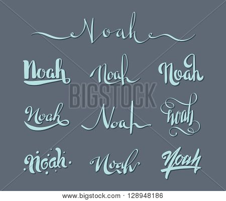 Personal name Noah. Vector handwritten calligraphy set. Handmade lettering collection