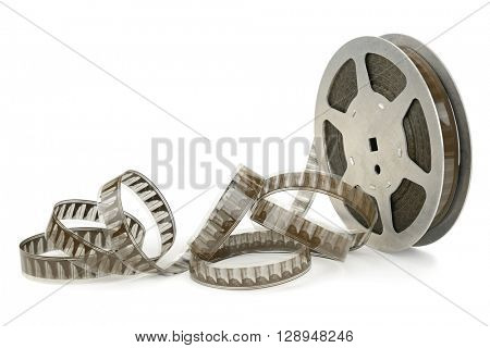 Old cinefilm isolated on white