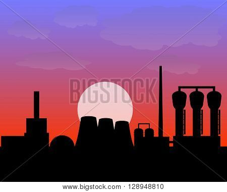 vector processing plant the evening time sunset