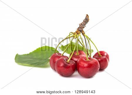 sweet cherries on a white background greengrocery, crop,