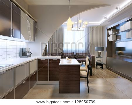 Glossy minimalist kitchen with bar and lounge on background. Zebrano facade furniture unusual shepes white tiled backsplash. 3D render