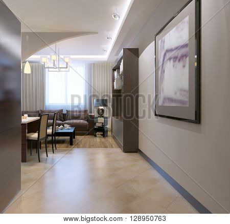 Entrance to kitchen studio. Contemporary kitchen with bar separated from living room by arch mixed tile and linoleum flooring. 3D render poster