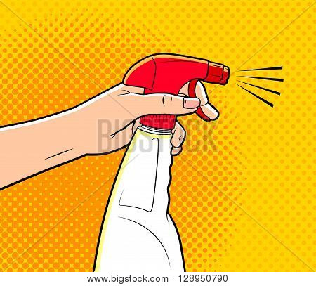 comics style illustration of hand holding cleaning spray
