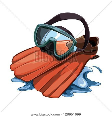 Vector picture with Water mask and red flippers on water splash. Flippers isolate on white background
