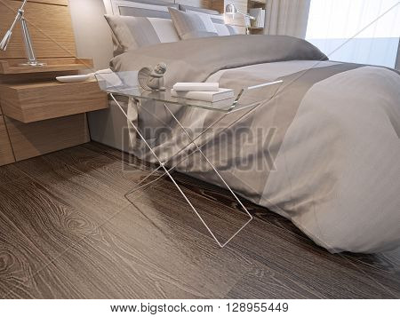 Master bedroom contemporary style. Exclusive console with glass countertop near lush bed in contemporary bedroom with dark wooden parquet flooring. 3D render poster
