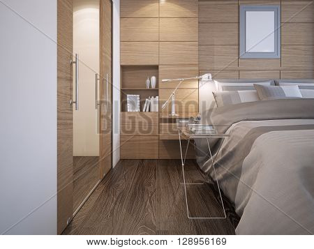 Beautiful bedroom design. Wood panel wall decoration with niche white walls elegant bed with console hardwood parquet flooring and walk-in closet. 3D render
