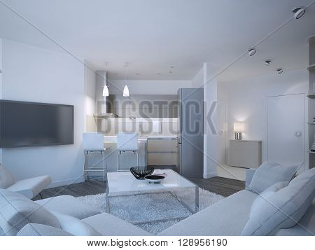 Scandinavian apartment studio with small contemporary kitchen. White walls and furniture brown flooring and grey kitchen furniture. 3D render