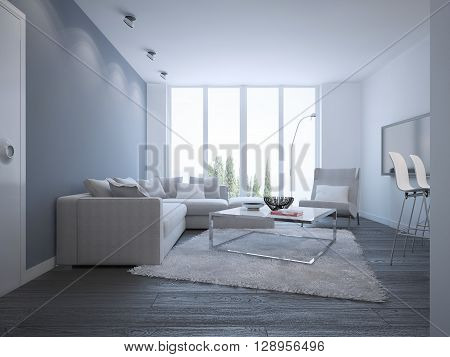 Idea of bright minimalist lounge. Elegant room with white furniture and a wool carpet. Unusual metal table with matt glass tabletop. 3D render