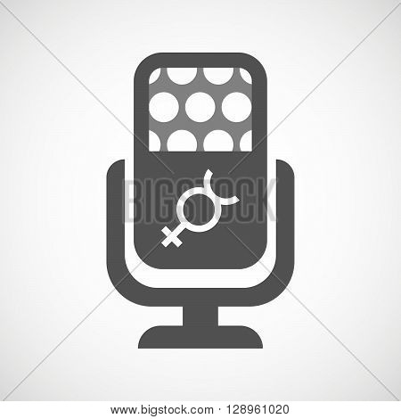Isolated Mic Icon With  The Mercury Planet Symbol