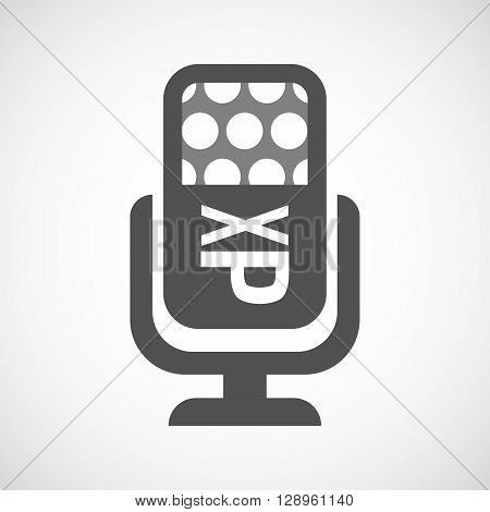 Isolated Mic Icon With  A Tongue Sticking Text Face Emoticon