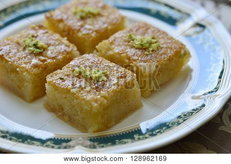Basbousa - an arabic sweet made from semolina with sugar syrup.
