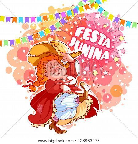 Greeting card june vector photo free trial bigstock greeting card for june festival in brazil dancing old lady in red dress vector m4hsunfo