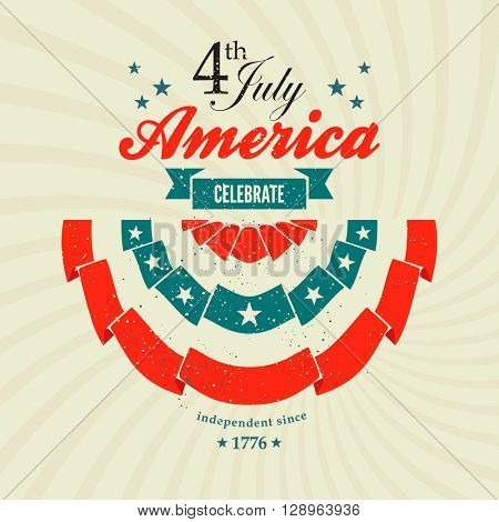 4th July Independence Day card with pleated fan banting
