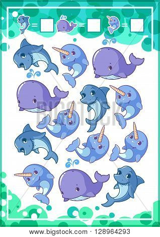 Education counting game for preschool kids with funny animals. How many sharks whales and narwhals do you see? Cartoon vector illustration.