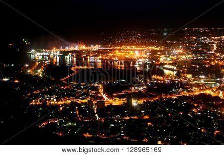 Port Louis capital city illuminated at night